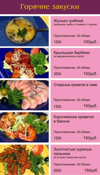 Рецепты блюд для меню ресторана